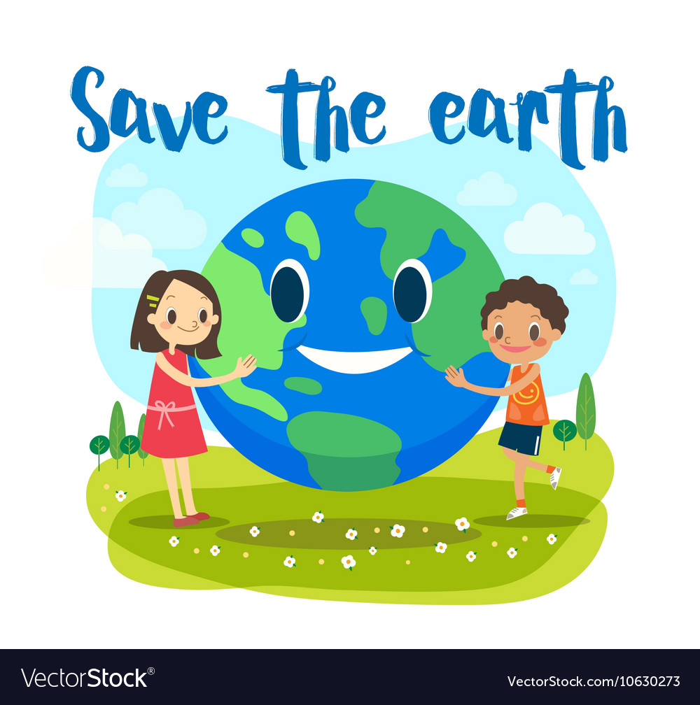 Save The Earth Ecology Concept Cartoon Royalty Free Vector