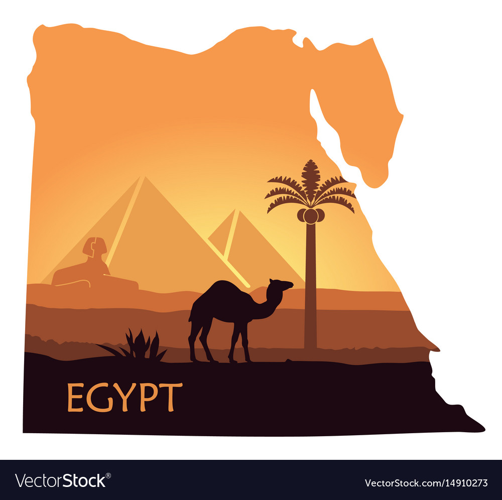 The landscape of egypt with a camel the pyramids