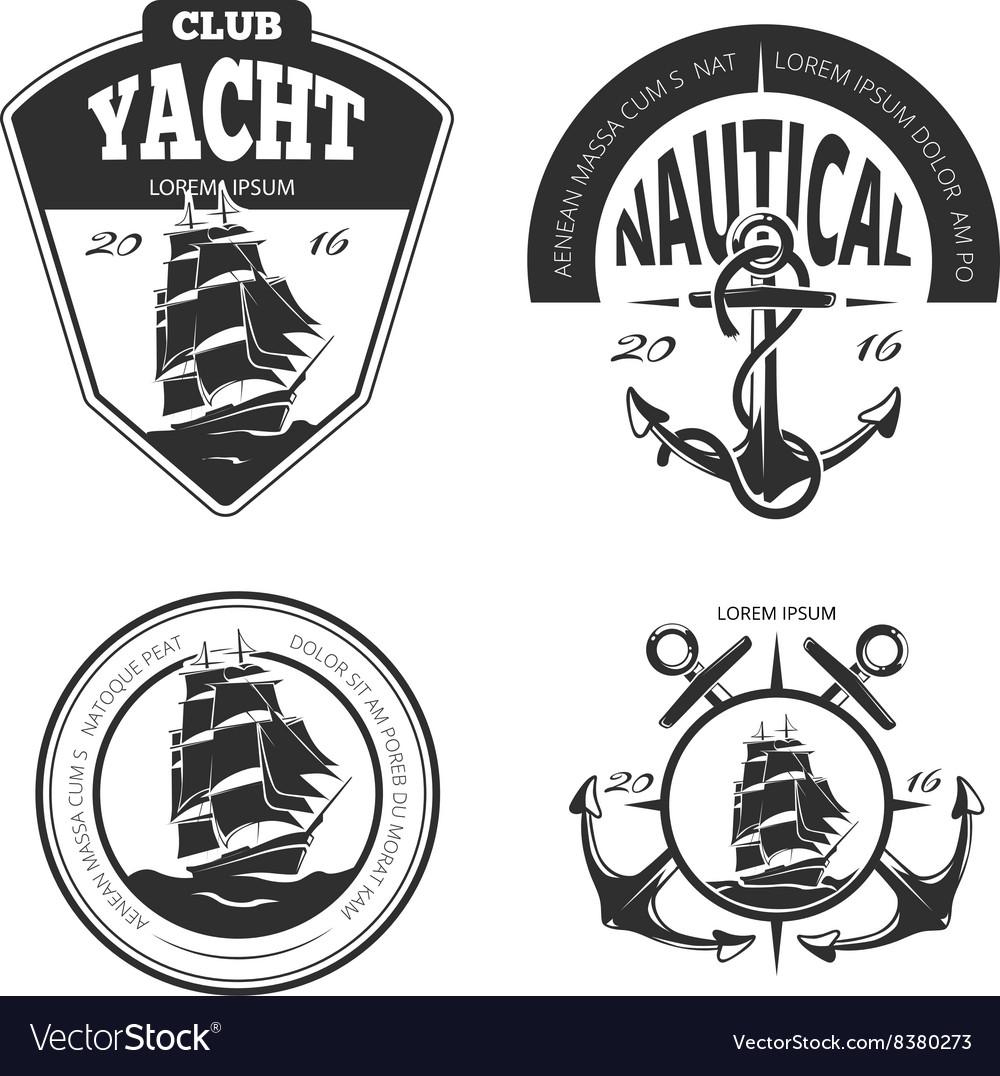 Vintage nautical logo labels and badges