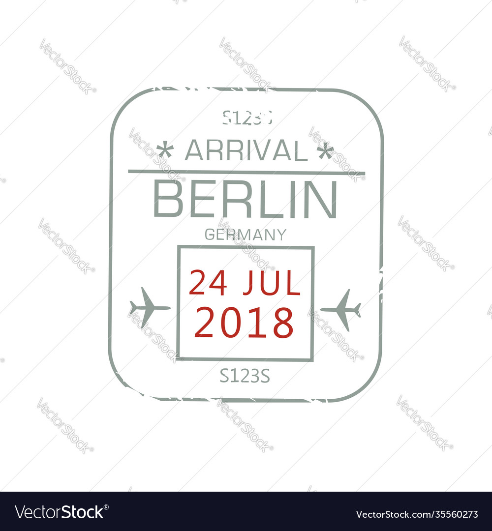 Visa stamp isolated berlin international airport vector