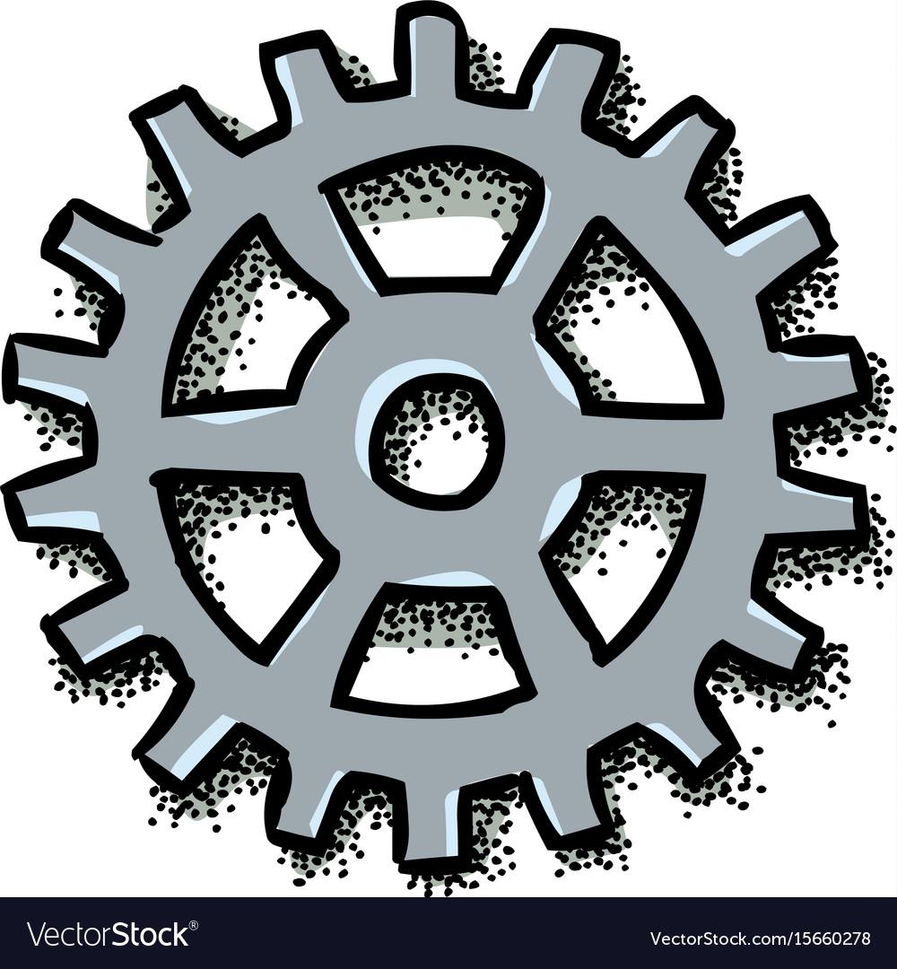 Cartoon image of gear icon flat