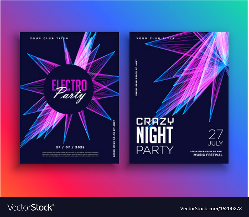 Electro party music flyer template invitation Vector Image
