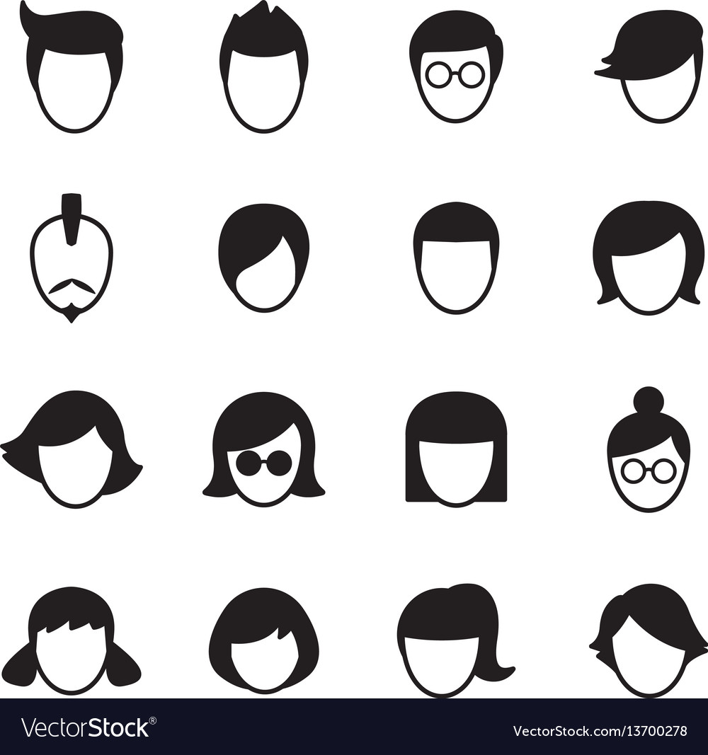 Hair style icons set