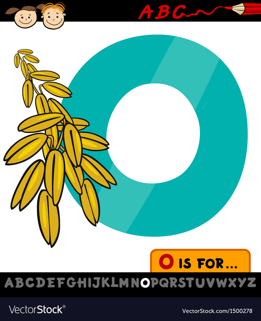 Letter o with oat cartoon vector image