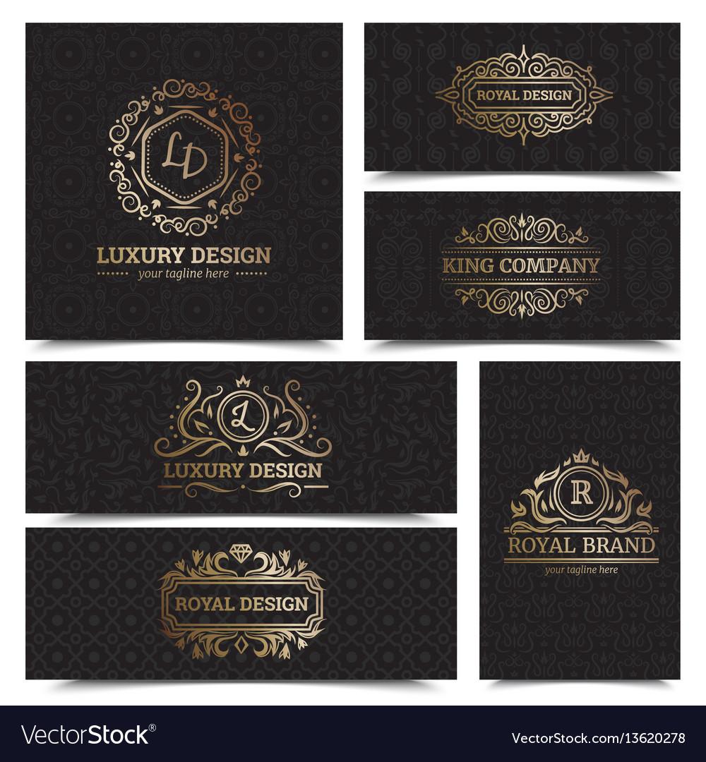 Luxury products labels design set