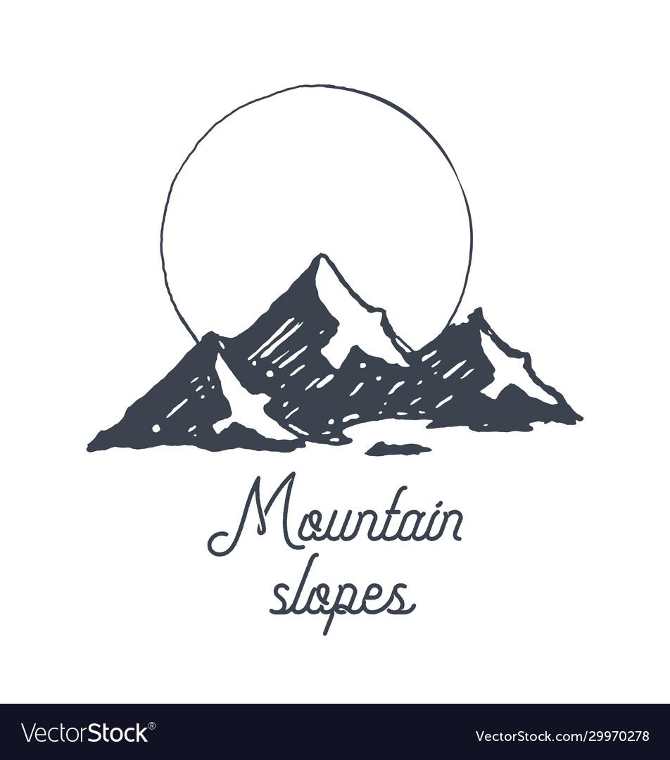 Mountain logotype logo sunrise birds sketch