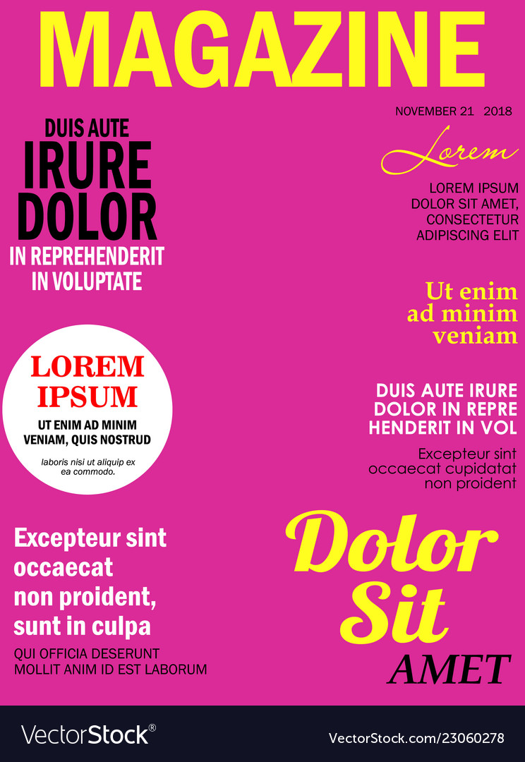 realistic magazine front page template royalty free vector