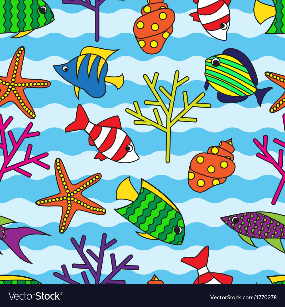 Seamless pattern with colorful fish and coral