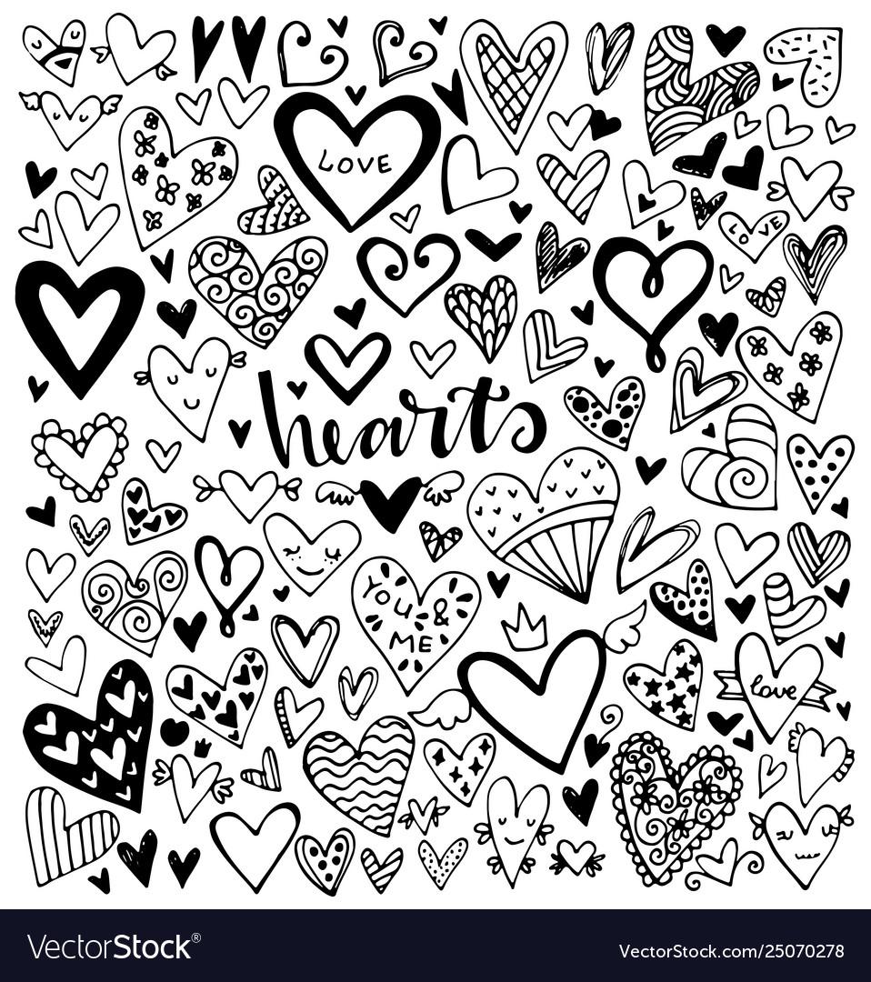 Set black hand drawn hearts