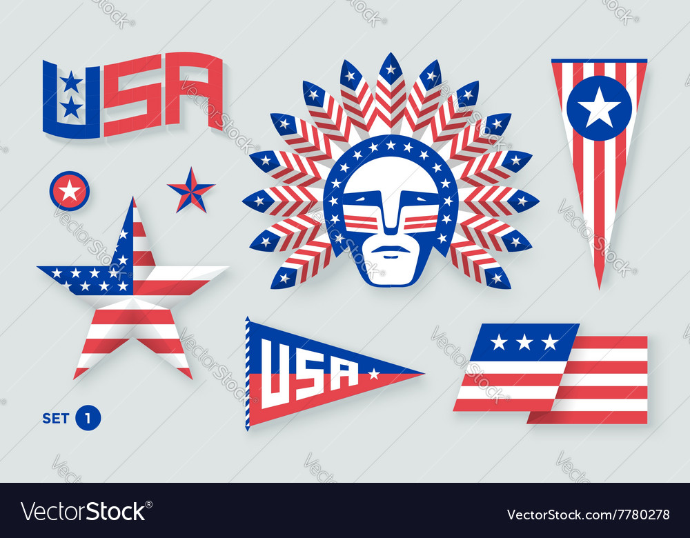 Set of USA symbols and design elements for vector image
