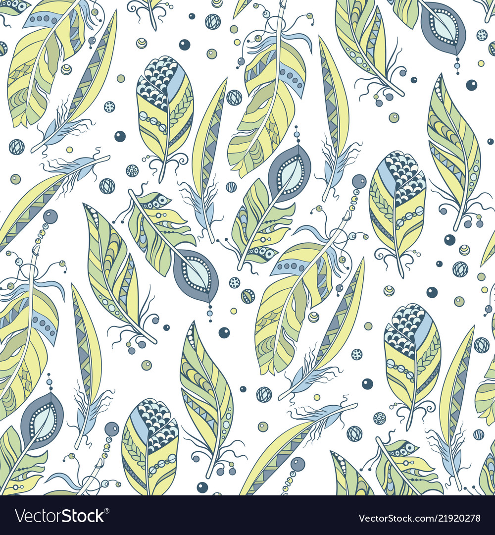 Tribal native seamless pattern with feathers and