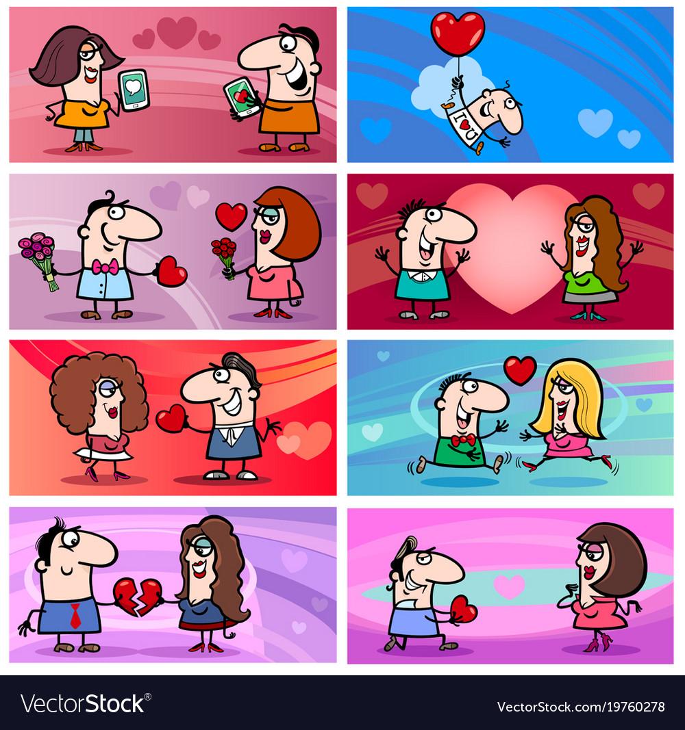 Valentine cartoon greeting cards designs