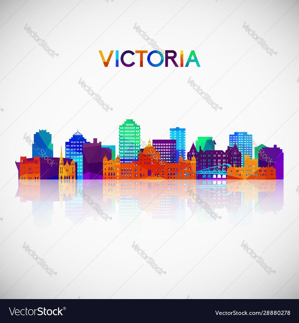 Victoria skyline silhouette in colorful geometric