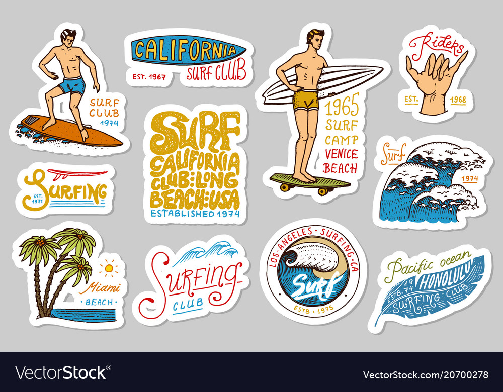 Vintage surfer badges tropical stickers and