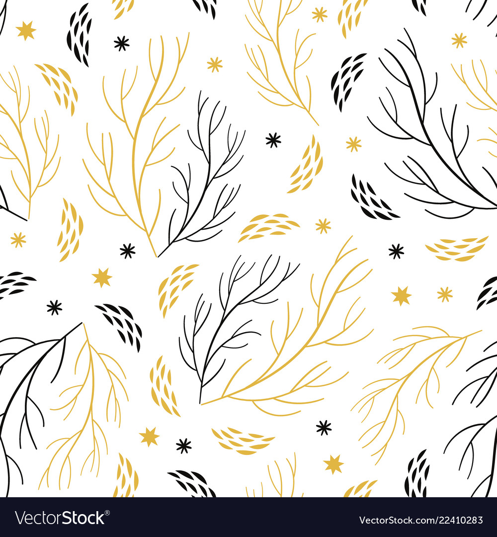 Beautiful seamless pattern with branches and snowf