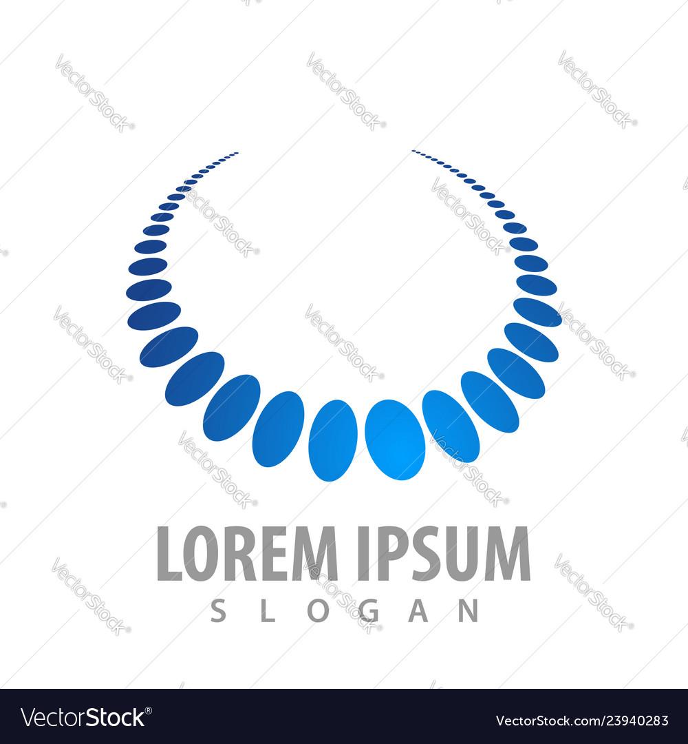 Blue pearl necklace logo concept design symbol