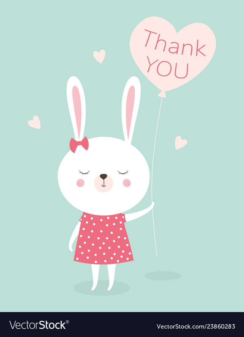 514932d0d453 Bunny thank you Royalty Free Vector Image - VectorStock