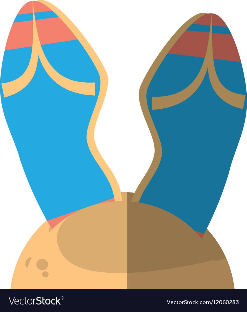 Cartoon blue flip flop sand beach