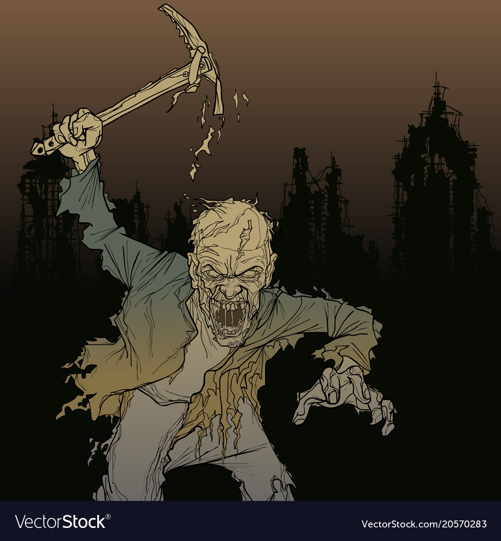Cartoon zombie man with a pick in his hand in the