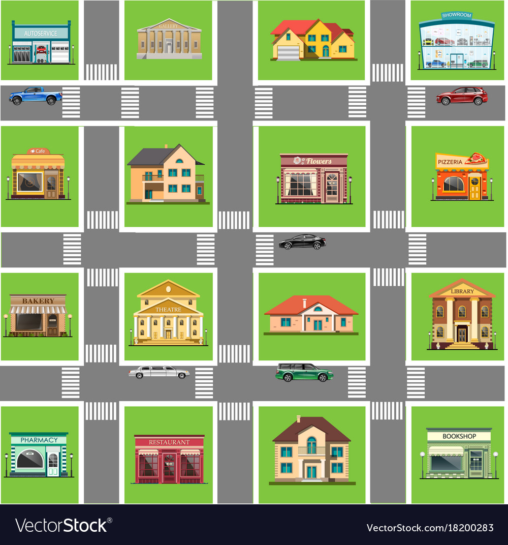 Different shops and homes set