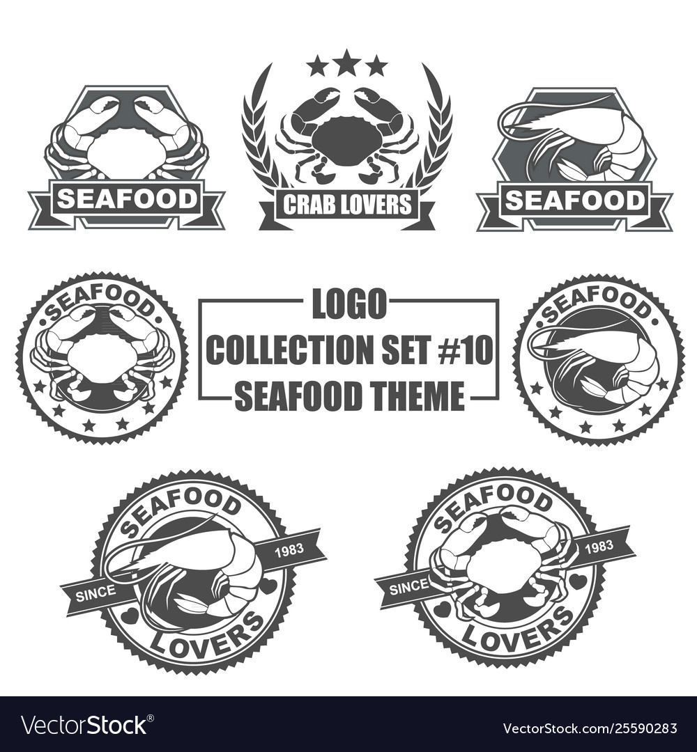 Logo collection set with seafood theme