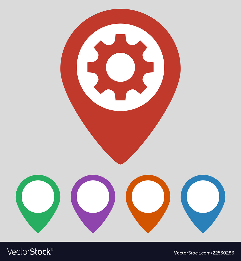 Map pointer with gear icon on grey background