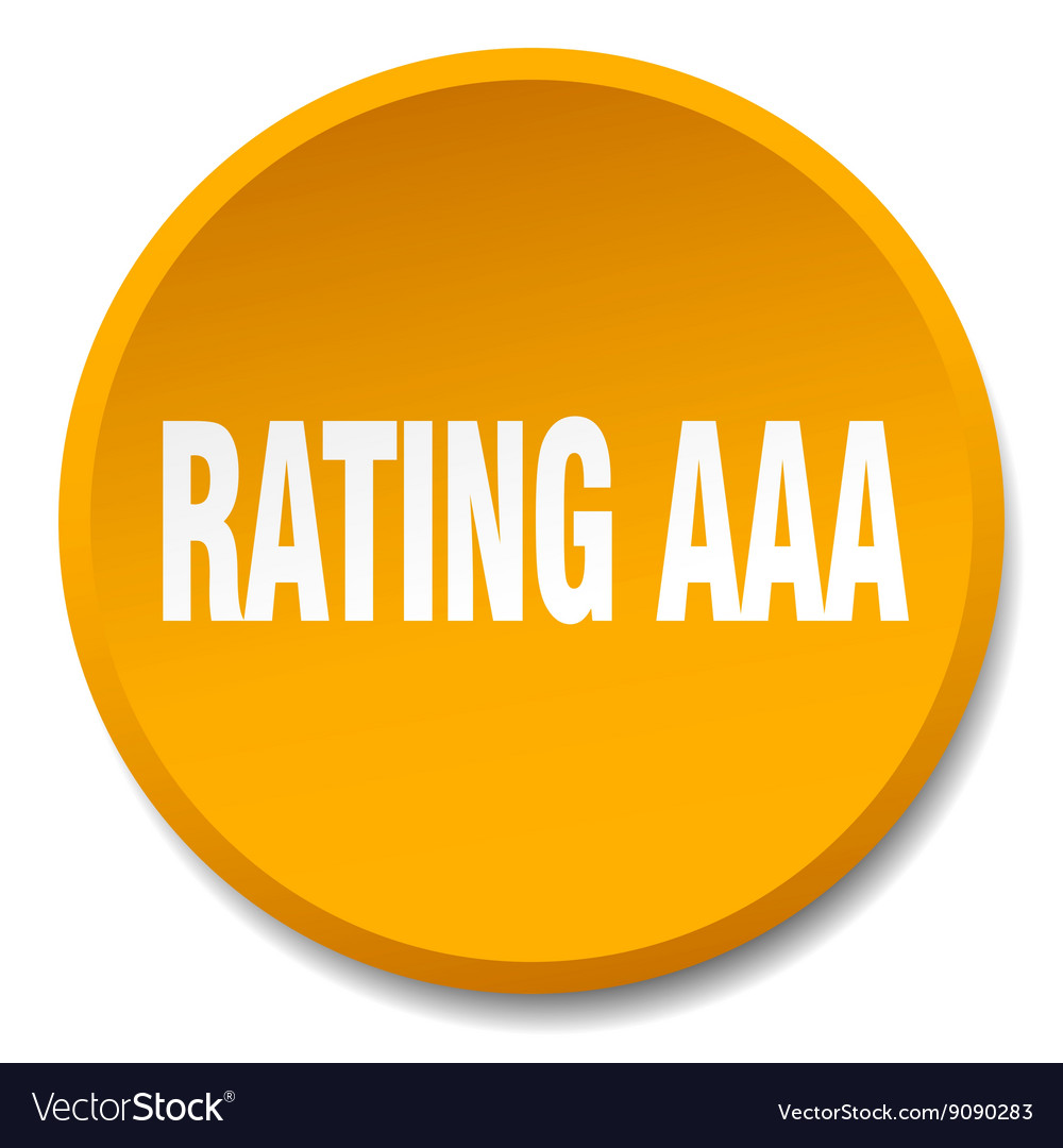Rating aaa orange round flat isolated push button vector image