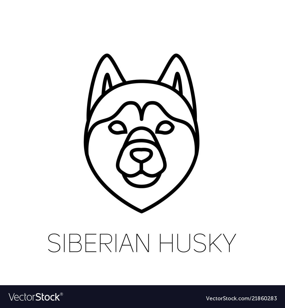 Siberian Husky Linear Face Icon Isolated Outline Vector Image