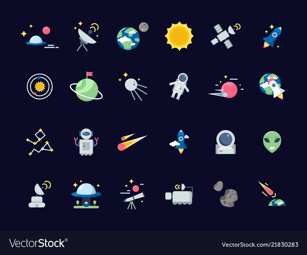 Space icons earth moon with sun and satellites