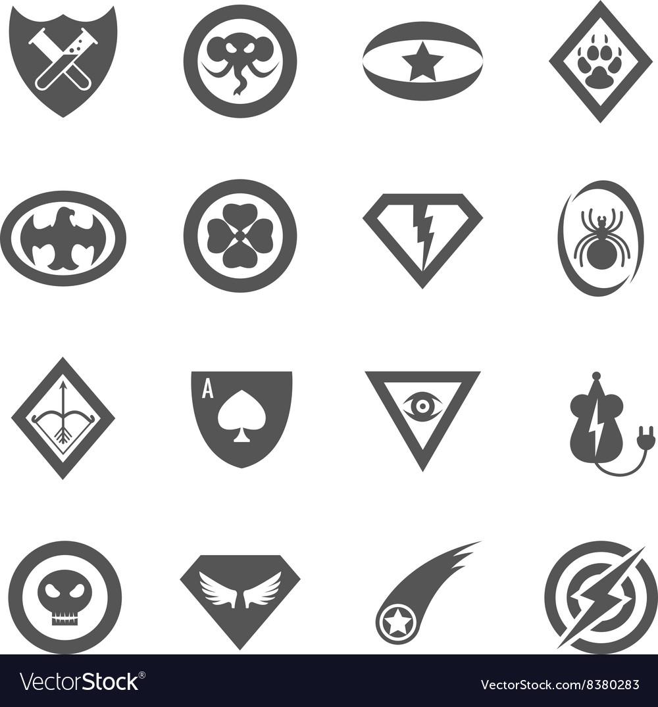 Superhero badges emblems logos icons set vector image