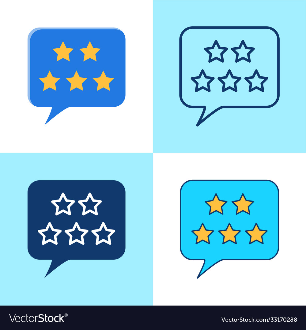 Customer review icon set in flat and line style