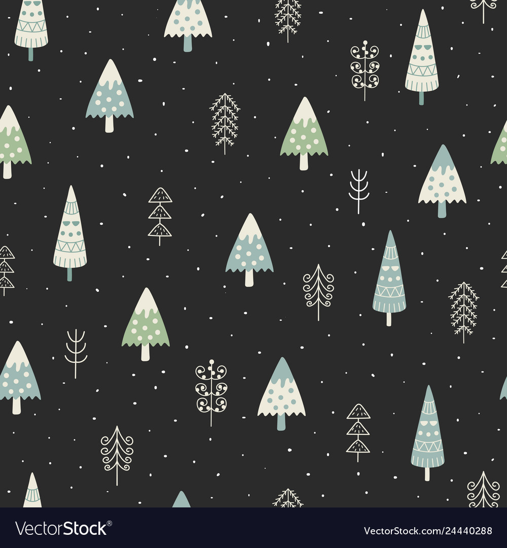 Cute christmas trees and winter landscape seamless