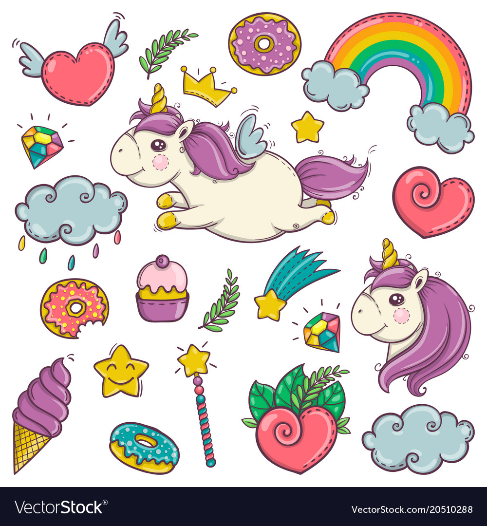 cute set of wonderful magical elements with vector image