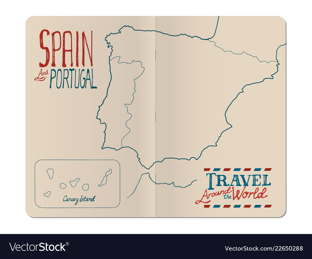Travel Map Of Spain And Portugal.Map Of Spain And Portugal Drawn By Hand In An