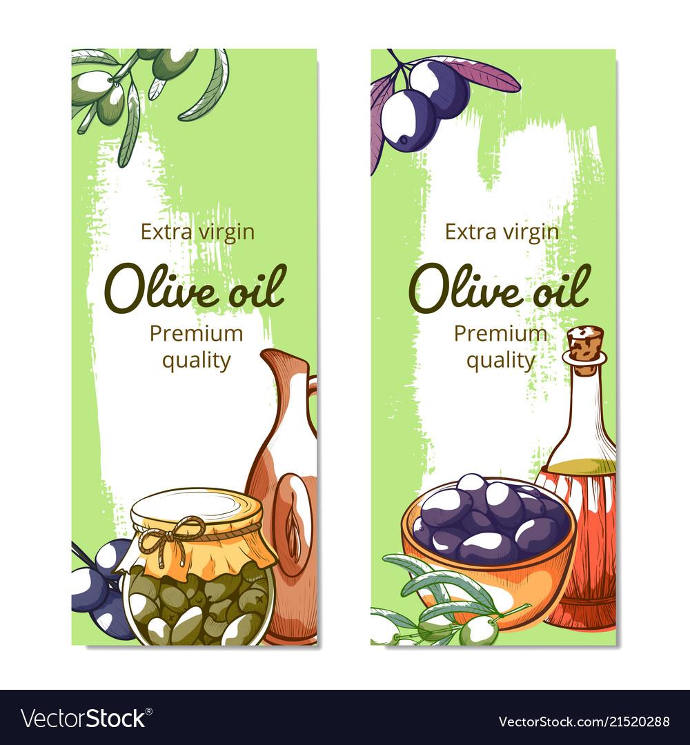 Olive oil hand drawn banner set