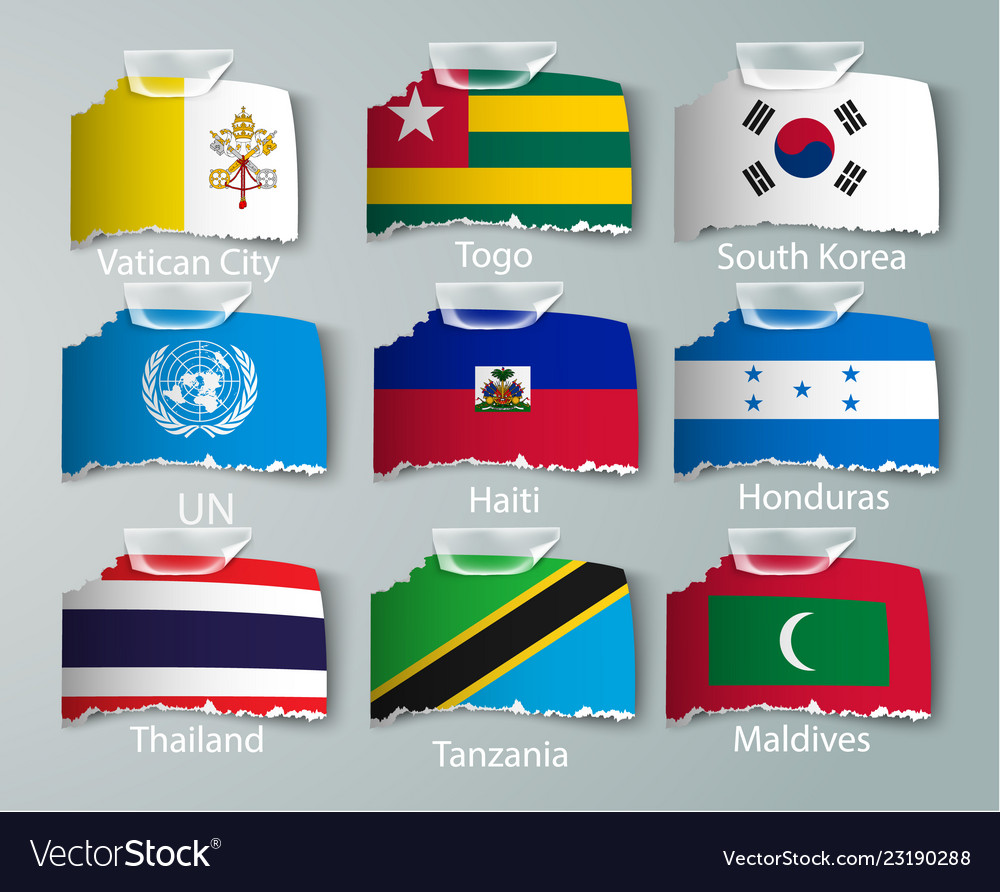 Realistic set flags paper countries