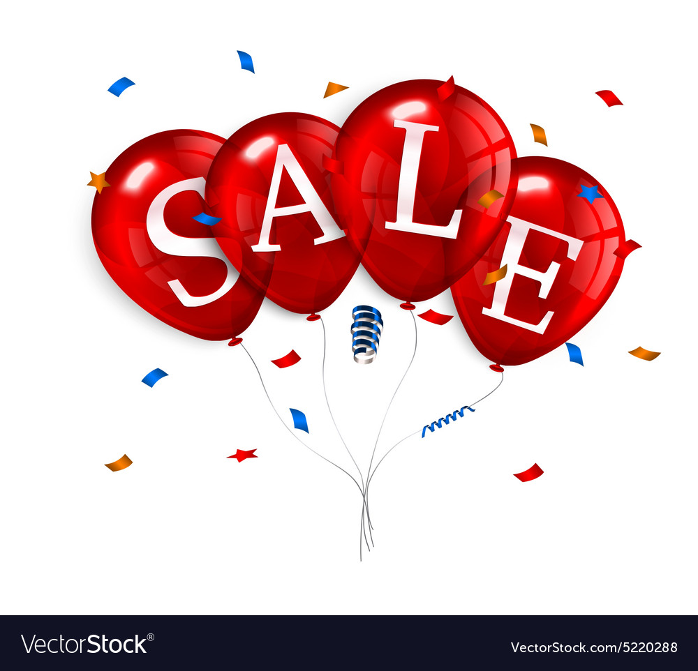 Red flying party balloons with text SALE