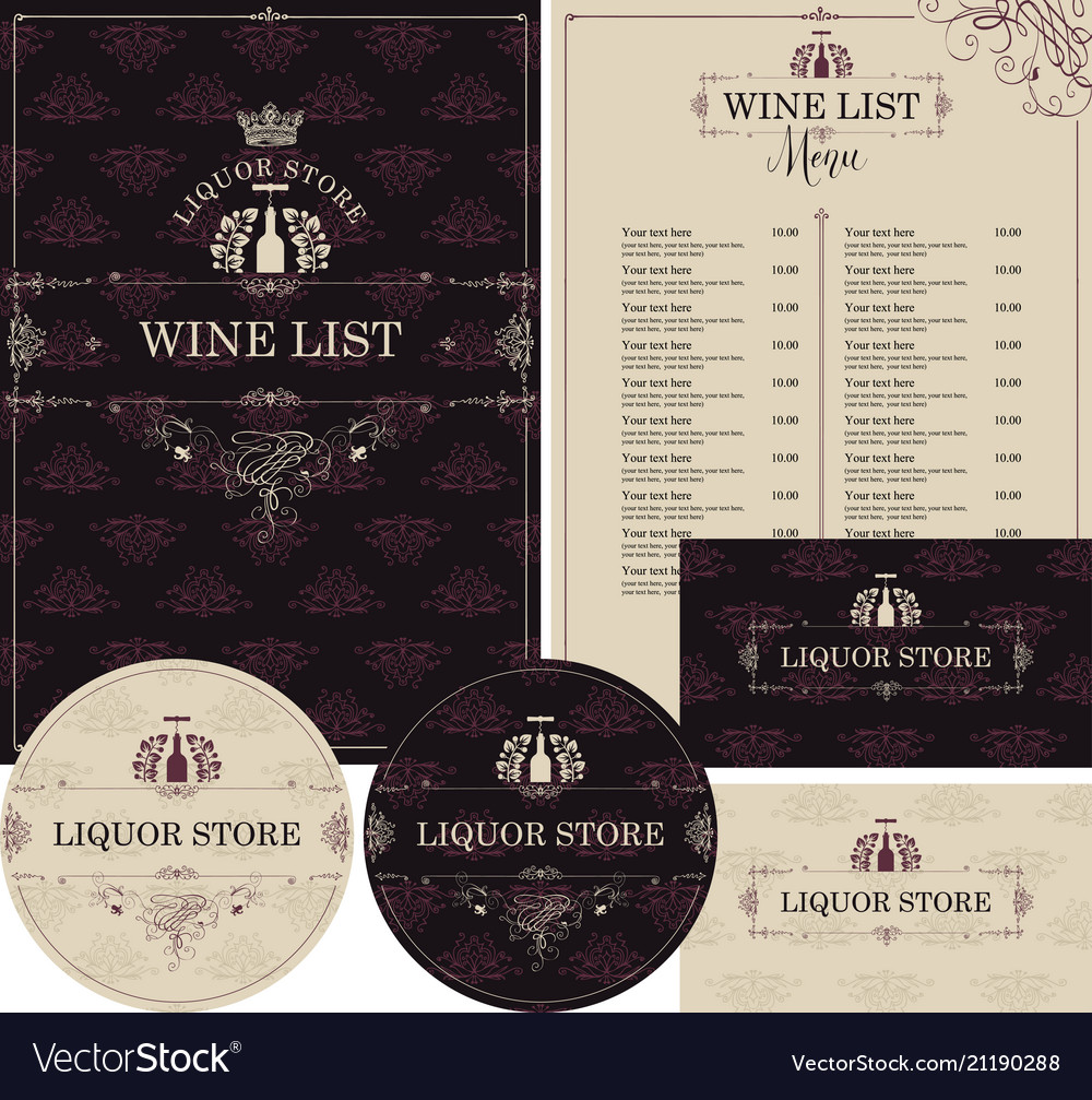 Set of design elements for liquor store with crown