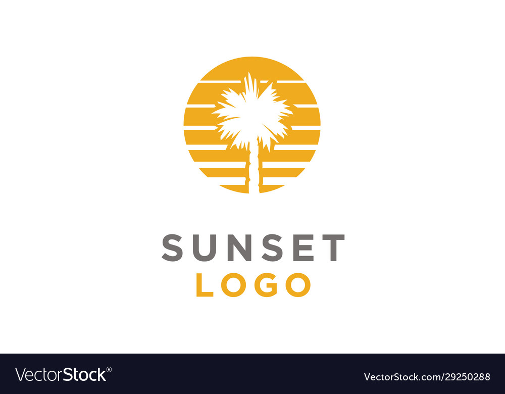Summer sunset beach palm tree summer sea logo