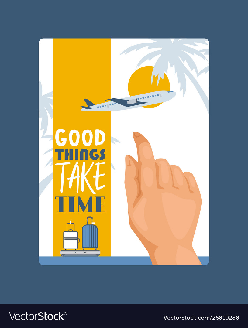 Travel concept with hand touching screenposter