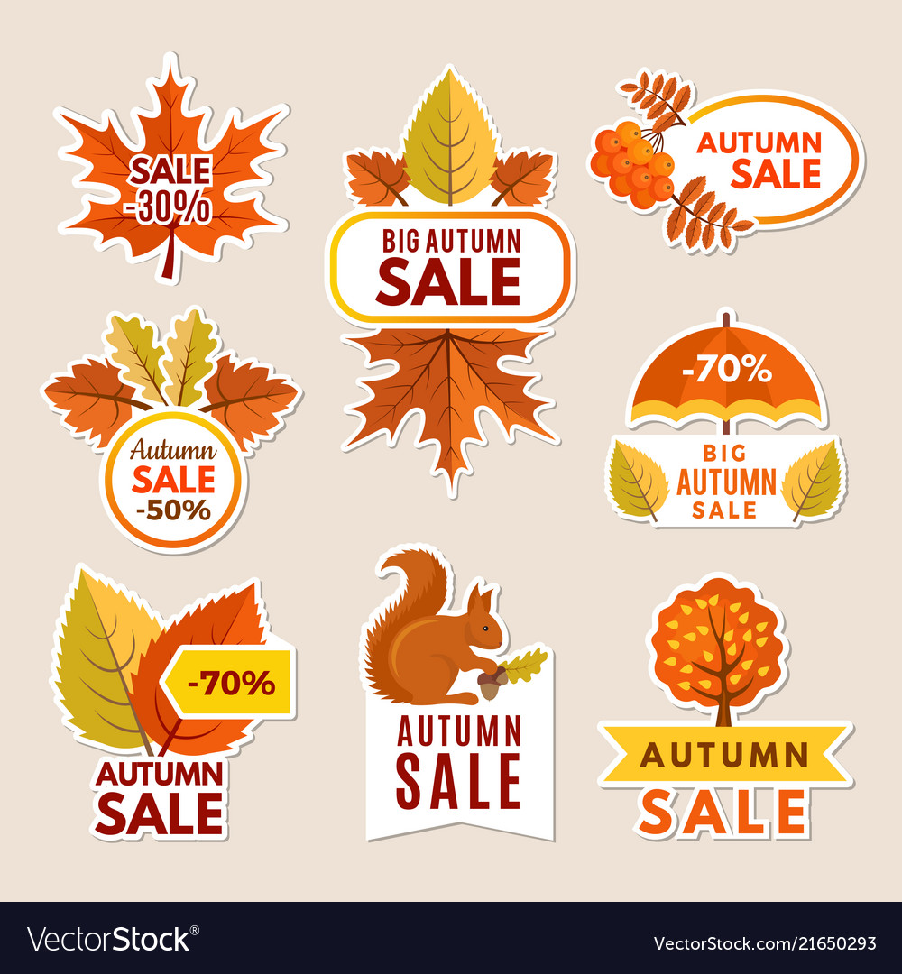 Autumn labels at sales banners with leaves