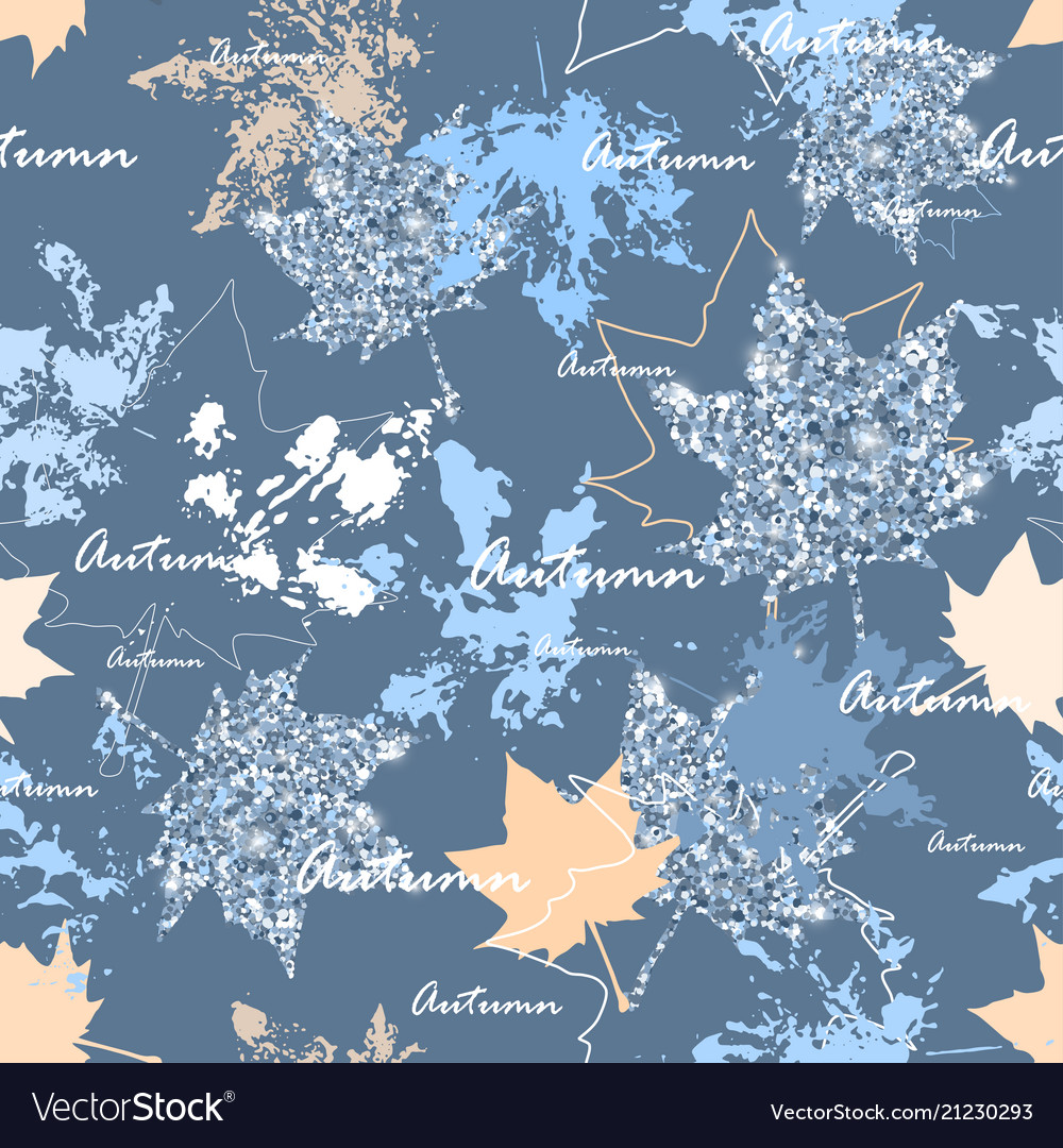 Autumn leaves seamless pattern silver and blue