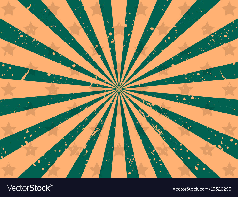 Background with rays and stars grunge style