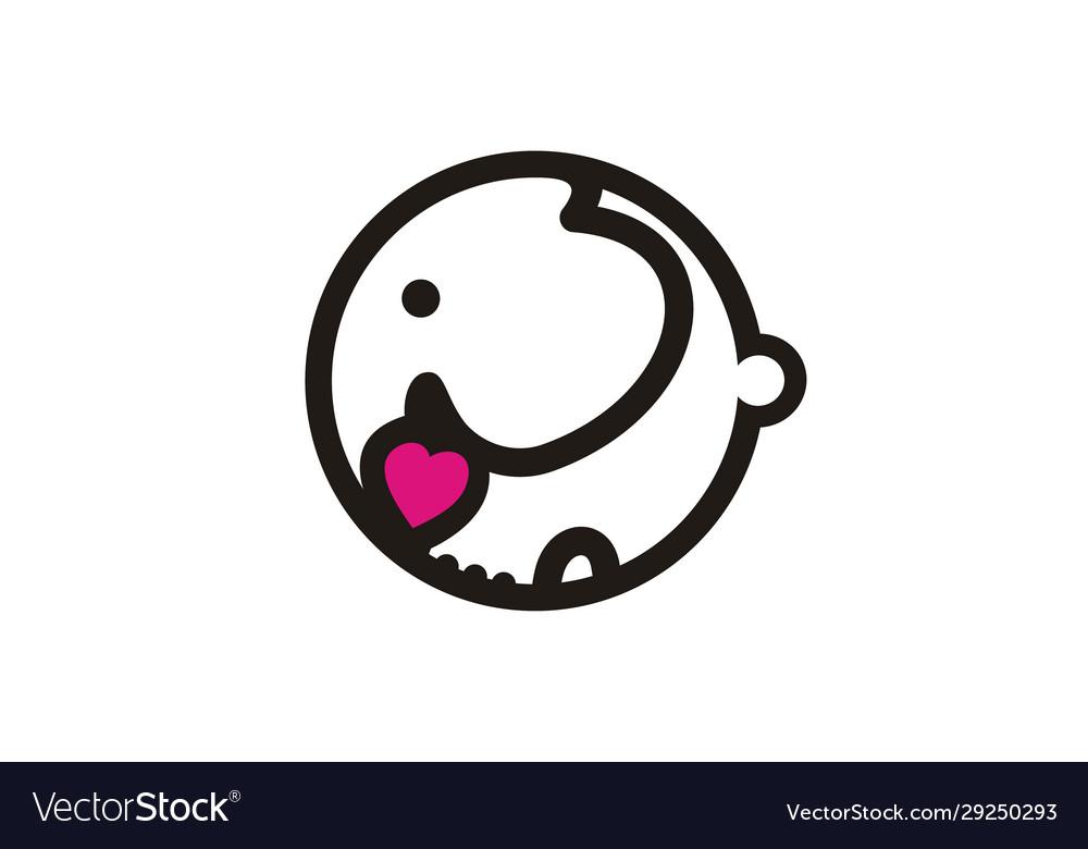 Cute elephant bawith heart love logo