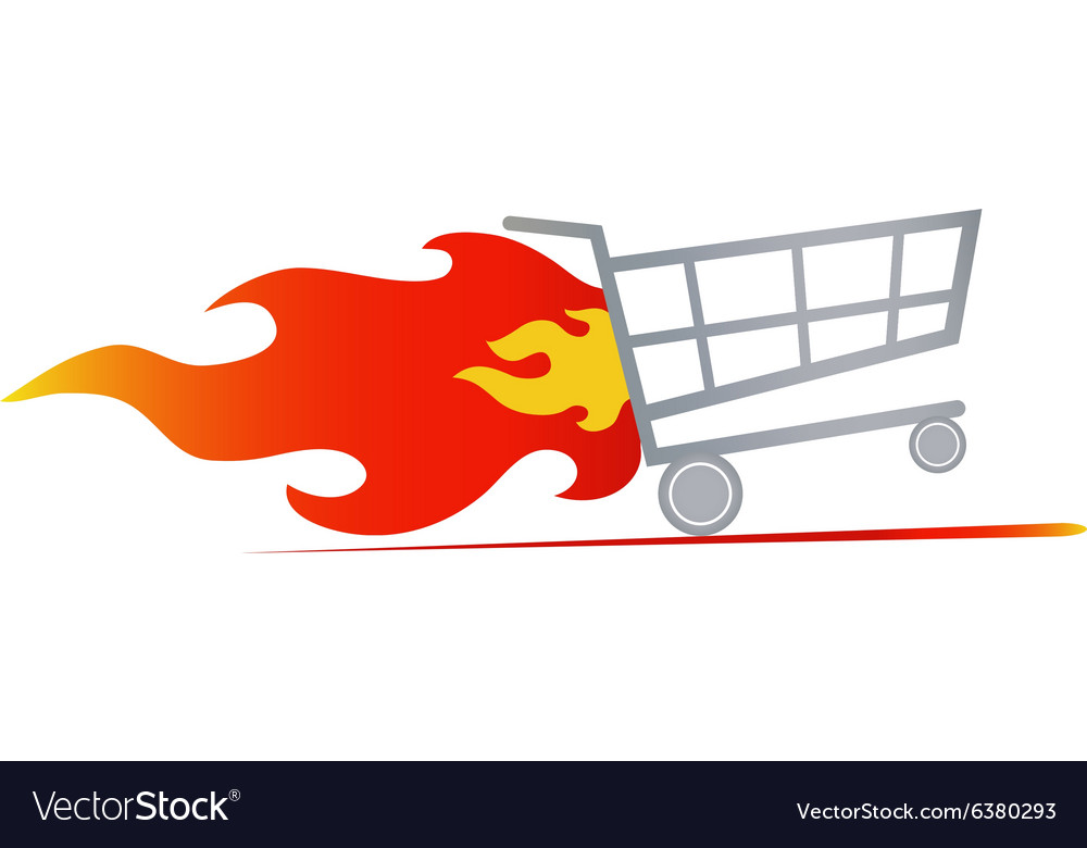 Fast shopping cart vector image