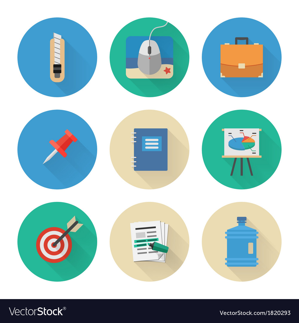 Flat Icons Set Business Office