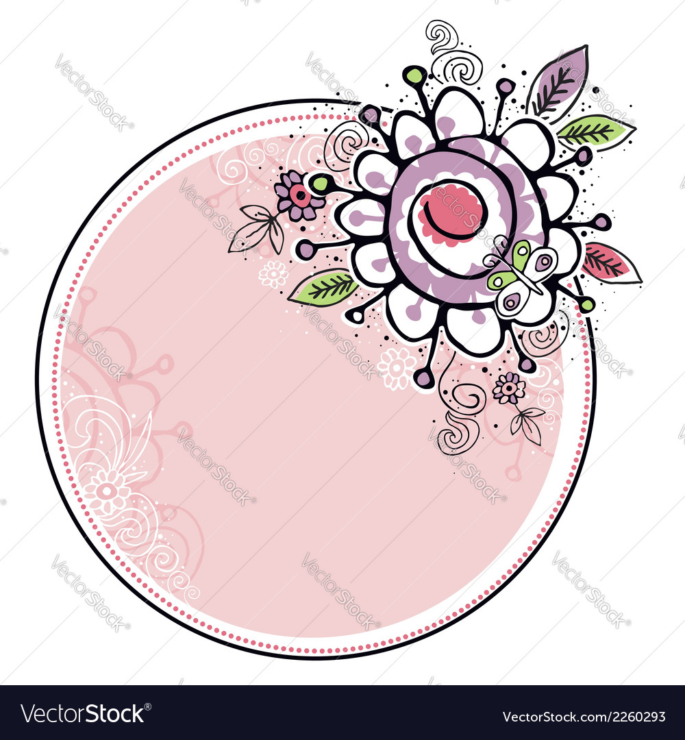 Hand Draw Flowers Combine With Circle Frame Vector Image