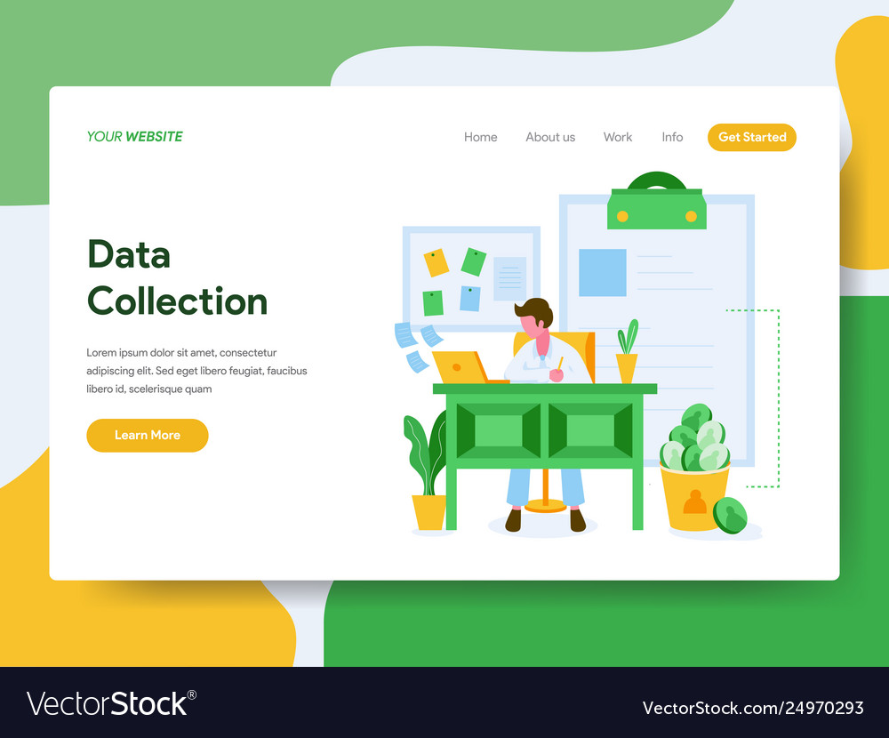 Landing page template data collection concept