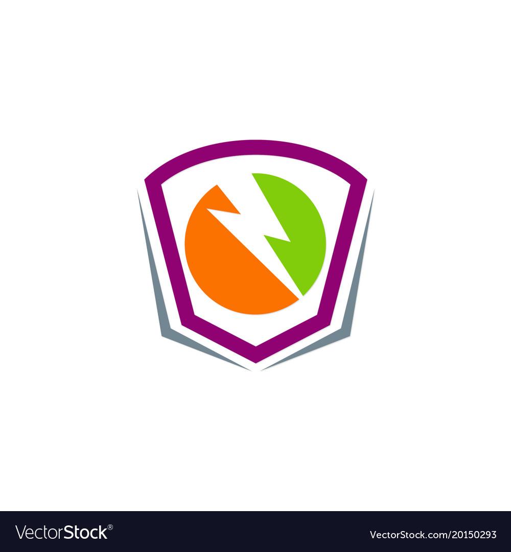 Thunder shield electric logo vector image
