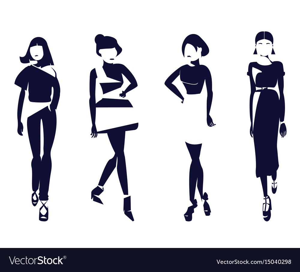 Black and white fashion silhouettes of stylish